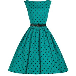 XS LINDY BOP POLKA DOT DRESS AQUA